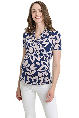 LaClef Women's Short Sleeve Surplice Maternity Nursing Top (X-Large, Navy/Peach Floral)