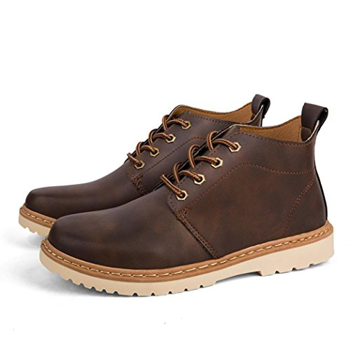 Franterd Men's Spring Summer Martin Boots Casual Ankle High-top Shoes Vintage Lace-up Outdoor Booties Lightweight Waterproof Anti-Slip Shoes Warm Boots (8, Brown)