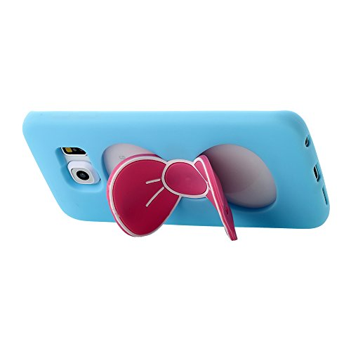 Galaxy S6 Edge Case, PandawellTM Slim Thin Fashion Lovely Girls Shock Absorption Soft TPU Cute Bowknot Kickstand Case Cover for Samsung Galaxy S6 Edge with Screen Protector & Ball-point Stylus Pen (Bowknot-Blue)