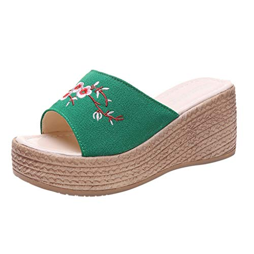 Sandals for Women Fzitimx Summer Ladies Sandals Retro Ethnic Wind Embroidery Flowers Wedge Slippers Beach Shoes Platform Thick Bottom Wedge Sandals