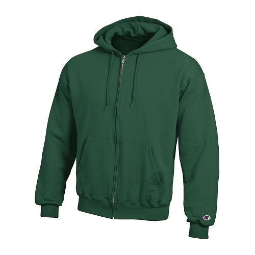 (Champion Double Dry Action Fleece Full Zip Hood_Athletic Dark Green_XL)