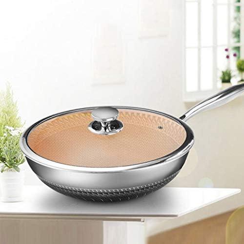 YWSZJ Acier Inoxydable Frying Pan-Double Face Honeycomb antiadhésive, Smokeless Pot, Gamme Pan Cuisinière à Induction Universelle des gaz