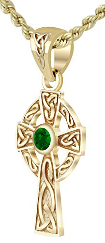 New Small Solid 14k Yellow Gold Irish Celtic Cross Synthetic Emerald Pendant (Emerald Celtic Cross Pendant)