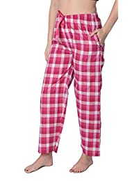 Beverly Rock Women's Cotton Blend Plaid Woven Lounge Pants Available in Plus Size