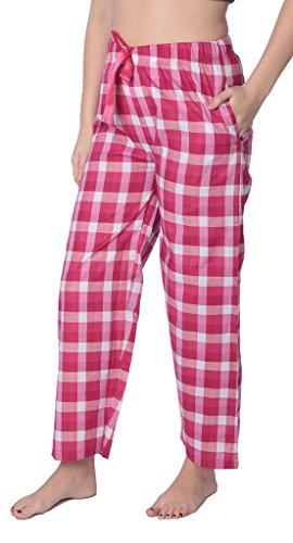 (Beverly Rock Women's Cotton Blend Plaid Woven Lounge PantsAvailable in Plus Size WLL01_18 Fuchsia 3X)