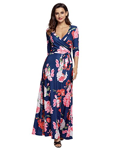 Womens Maxi Dress V Neck Summer Floral Print Wrap 3/4 Long Sleeve Dresses with Belt Blue ( S (Jersey Surplice Dress)