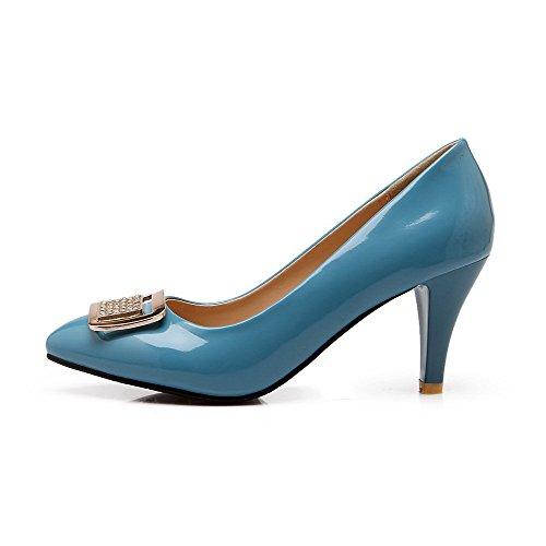 Amoonyfashion Womens Pull Sur Bout Pointu Fermé Talons Hauts En Cuir Verni Solide Pompes-chaussures Bleu