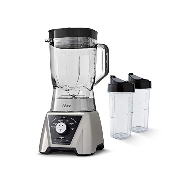 Oster BLSTTSCB2000 Texture Select Settings Pro Blender with 2 Blend-N-Go Cups and Tritan Jar, Brushed Nickel