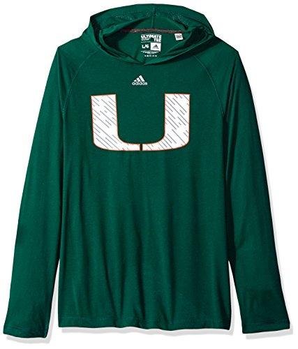 adidas NCAA Miami Hurricanes Mens Line Shine Ultimate L/S Hoodline Shine Ultimate L/S Hood, Dark Green, ()