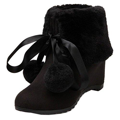 Boots Black Winter Snow Women Boots Half Wedges Heel Warm 1389 TAOFFEN Mid qCPIEwOE6