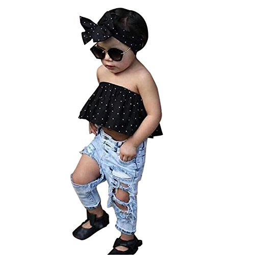 Best Gift 0-3 Years Baby Girls Off Shoulder Polka Dot Top+Destroyed Ripped Jeans+Headband Clothes Outfits Set (0-6 Months, A) ()