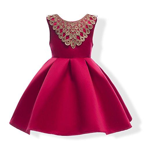 Ygosoon Christmas Red Blue Flower Girl Dresses 2018 Gold Lace Satin Kids Evening Gowns Knee Length Vestidos de comunion