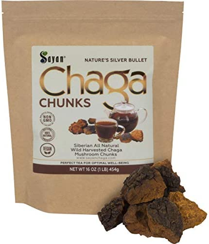 Sayan Siberian Pure Raw Chaga Mushroom Chunks with Black Top Crust 1 Lb 454 g Premium Wild Forest Harvested Super Antioxidant Tea, Supports Immune System, Heart Liver Health