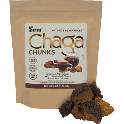 Sayan Siberian Pure Raw Chaga Mushroom Chunks with Black Top Crust 1 Lb 454 g Premium Wild Forest Harvested Super Antioxidant Tea, Supports Immune System, Heart Liver Health
