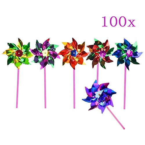 JZK 100 X Waterproof foil Windmills Outdoor Toys for Children Garden Decoration Ornament Pinwheel Spinners for Kids Birthday Party Favours Thank You Gift Party Bag Filler