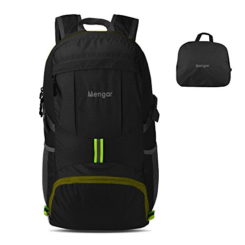 Backpack Daypack,Travel Backpack, Mengar 35L Foldable Water Resistant Packable Backpack Hiking Daypack - Ultralight and Handy & Lifetime Warranty (Black with Yellow Zipper)