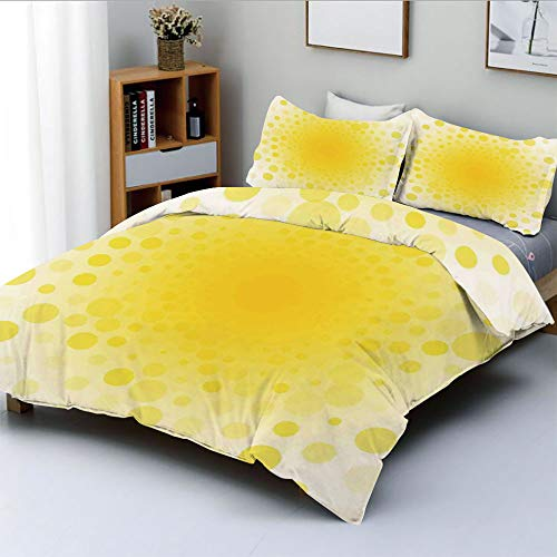 Duplex Print Duvet Cover Set Full Size,Abstract Small Circular Dots Patterns and Forms Centered Sun Spot Chic Decorative Art HomeDecorative 3 Piece Bedding Set with 2 Pillow Sham,Yellow,Best Gift for