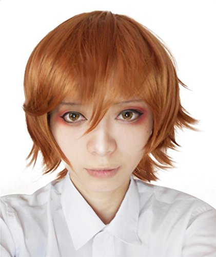 [Nuoqi Mens Anime Hitman Synthetic Short Brown Cosplay Wig CW180] (Hit Girl Wig)