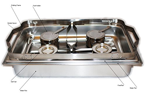 41oxQyaUXPL - TigerChef 8 Quart Full Size Stainless Steel Chafer with Folding Frame and Cool-Touch Plastic on top - includes 2 Free Chafing Gels and Slotted Serving Spoon (3, 8 Quart Chafer)