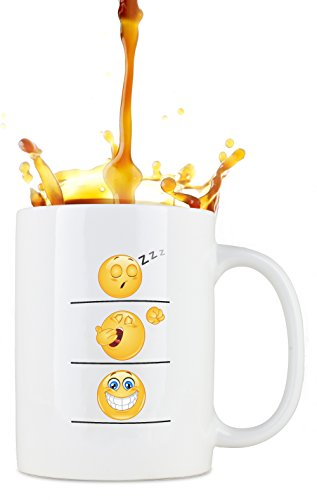 Whimsical Gift World Funny Coffee Cup/Mug, Emoji Smiley Face, Leak Proof with Large Handle, Humorous and Unique Novelty Gag Gift for Moms, Dads, Boys, Girls, Boss, Office and Others, 16 oz., Large (Office Mugs Faces The With)