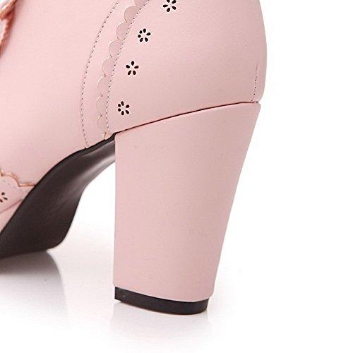 AmoonyFashion Womens Round-Toe Closed-Toe High-Heels Boots With Platform and Bandage Pink Tk4q0