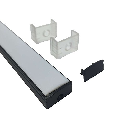 LightingWill 6.6ft/2M 25Pack(164ft/50M) 9x17mm Black U Shape LED Aluminum Channel System Internal width 12mm with White Diffuser Cover Cover, End Caps and Mounting Clips for LED Strip Light -U02B2M25 by LightingWill (Image #2)