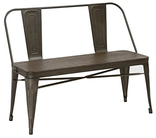 BTEXPERT Industrial Antique Copper Rustic Steel Frame Distressed Metal Dining  Bench With Full Back Wood Seat