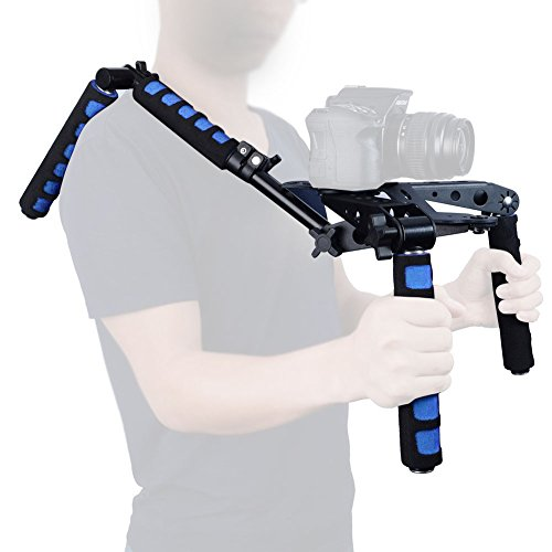 Mcoplus 107D Foldable DSLR Shoulder Rig Set Movie Kit Camera Shoulder Support Mount System for Canon Nikon Sony Panasonic Sony DSLR Cameras & Video Camcorders(Blue) by Mcoplus