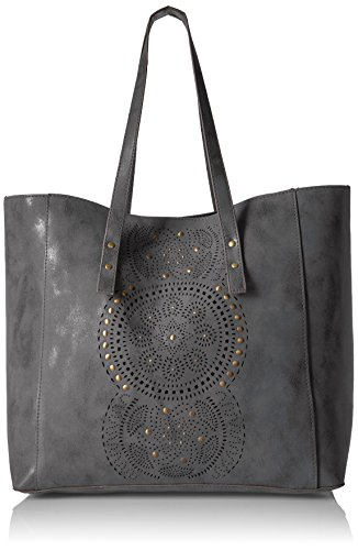 T-Shirt & Jeans Tote with Perf, Grey