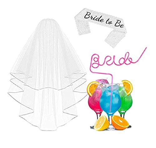 ADJOY Wedding Party Accessories for Bride - Bride Veil, Bride to Be Sash, Novelty Bride Straw for Bachelorette Party 3PCS Sets ()