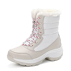 JACKSHIBO Women's Fur Lining Winter Boots Outdoor Waterproof Snow Boots