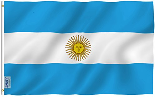 Anley Fly Breeze 3x5 Foot Argentina Flag - Vivid Color and UV Fade Resistant - Canvas Header and Double Stitched - Argentinian National Flags Polyester with Brass Grommets 3 X 5 Ft