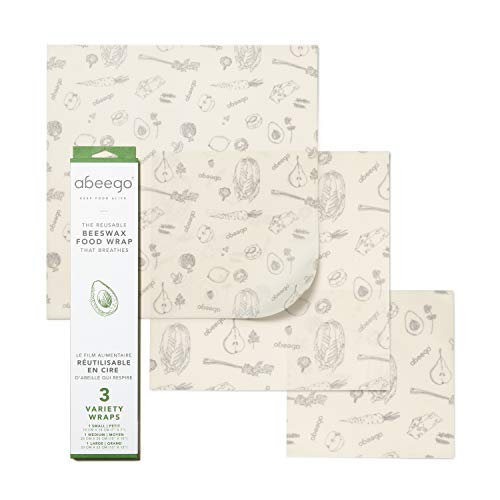 """Abeego, The Original Beeswax Food Storage Wrap - Set of Three, 7"""" 10"""" and 13"""" Natural Square Sheets"""