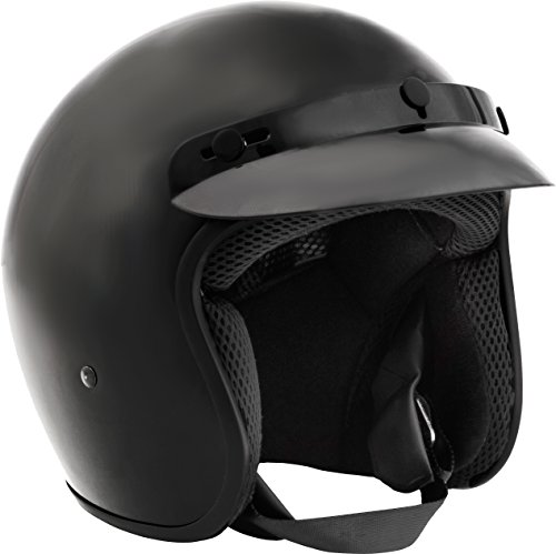 Fuel Helmets SH-OF0015 O5 Series Open Face Helmet, Gloss Black, Medium