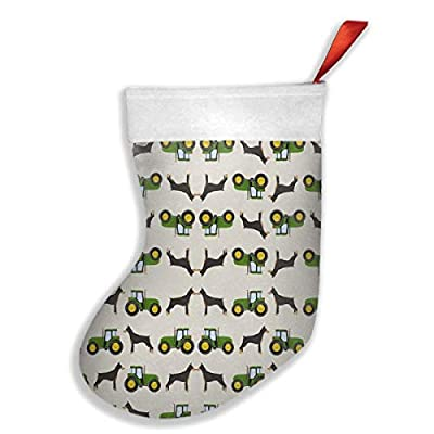 Doberman Pinscher Tractor Farm Fabric Dog Breeds Christmas Holiday Stockings Family Parties, Schools, Classrooms, Clubs, Offices, Employees