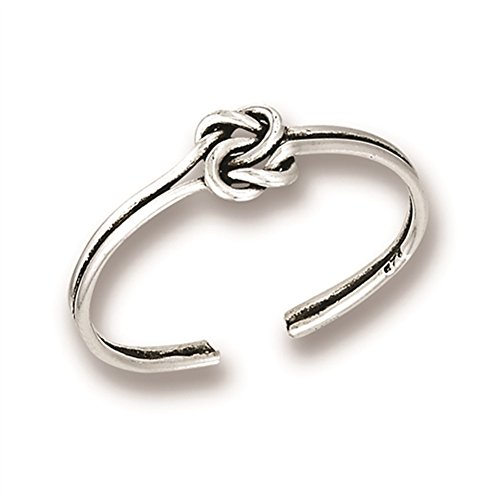 Oxidized Promise Knot Simple .925 Sterling Silver Minimalist Endless Celtic Toe Ring Band