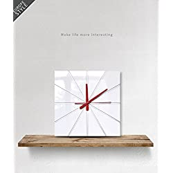 kolymax Simple Modern Square Acrylic Wall Clock 12 inch Non-ticking one AA battery powered (White)