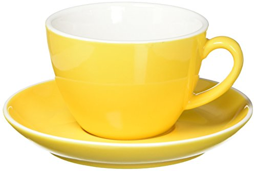 Abbott Collection Avenue Diner Look Porcelain Latte Cup w/ Saucer, Yellow