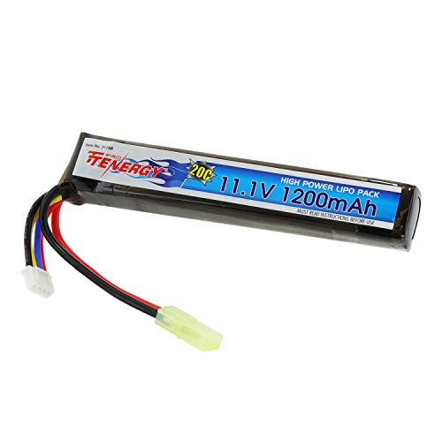 Tenergy Airsoft Battery 11.1V, 1200mAh High Capacity Stick LiPo Battery Pack, 20C High Discharge Rate Rechargeable Hobby Battery for Airsoft Guns AK47, MP5K, RPK, PKM w/Mini Tamiya - 20c Lipo 11.1v Battery