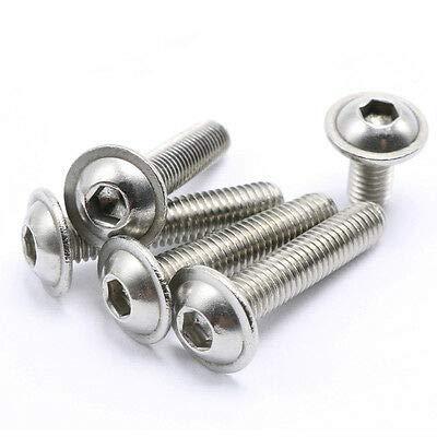 FidgetGear M8 Stainless Steel Flanged Button Head Screws Allen Socket Bolts 10-Pieces M8 x 35mm 10