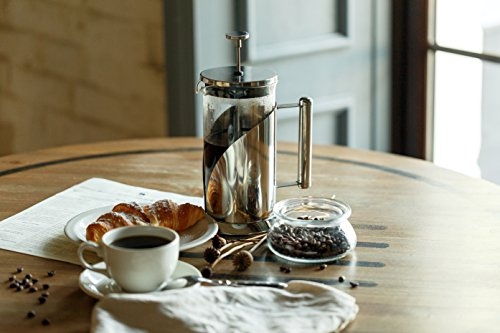 -[ Cafe Du Chateau French Press, 8 Cup, 4 Level Filtration System, 304 Grade Stainless Steel, Heat