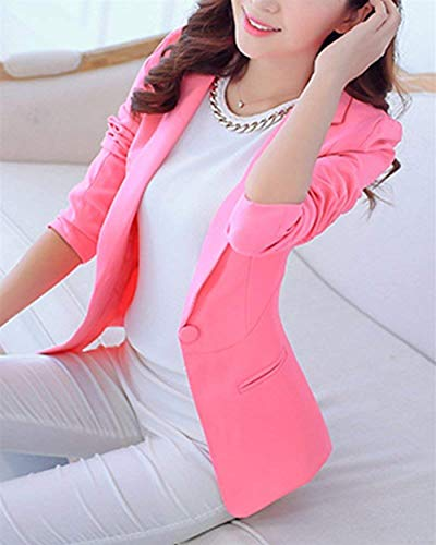 Autunno Giacche Manica Ragazza Eleganti Colore Donna Tailleur Giacca Tasche Puro Blazer Moda Ufficio Cappotto Con Fit Button Primaverile Pink Da Business Slim Lunga 0OwxXOtYq