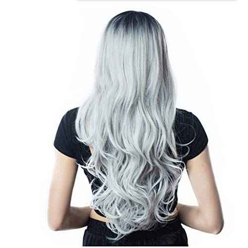 Yinghuawen Gradient Color is Divided into Fashionable Big Wave Princess Wig, Good Breathability, Free to Adjust The Size of The Hood -