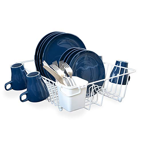 - Smart Design Dish Drainer Rack w/ Cutlery Cup & Plate Dividers - Large - Steel Wire Frame - for Dishes, Cups, Silverware Organization - Kitchen (17.5 x 5.5 Inch) [White]