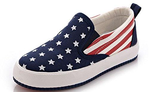 VECJUNIA Boys Girls American Flag Slip On Flat Walking Loafers Blue 9.5 M US Toddler