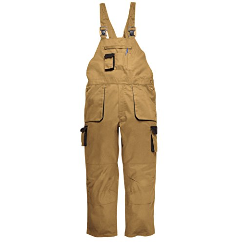 Bib Khaki - Portwest Contrast Bib & Brace/Workwear (XL x Regular, Epic Khaki)