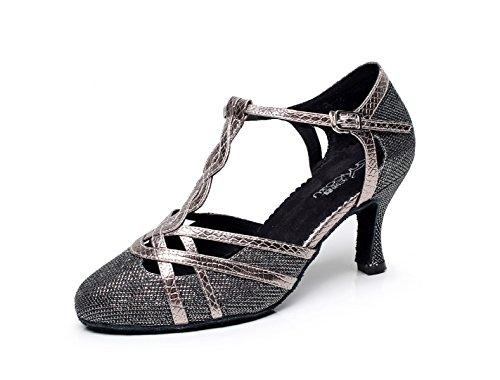 JSHOE Femmes T-strap Glitter Tango Salsa Mariage Chaussures De Danse Latine Fermé-orteil Mid Heel Pump,Grey-heeled7.5cm-UK3.5/EU34/Our35