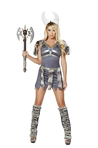 4pc Sexy Viking Costume, Grey, Women Medium ()