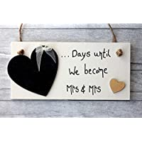 MadeAt94 Wedding Countdown MRS & MRS Gay Engagement Gift Sign Chalkboard Lesbian Couples