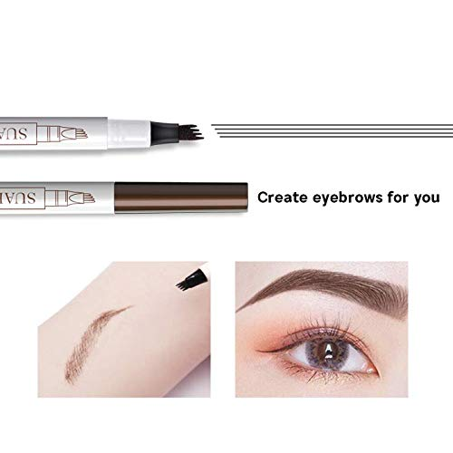 Eyebrow Tattoo Pen,Microblading Eyebrow Pencil with Four Micro-Fork Tip Applicator,Long Lasting, Waterproof & Smudge-Proof Microblade Eyebrow Pen Creates Natural Looking Brows Effortlessly